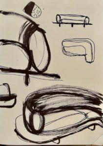 croquis du canapé Onigiri par Louis Denavaut
